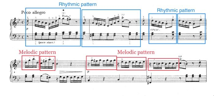 look at melodic and rhythmic patterns to improve your sight-reading