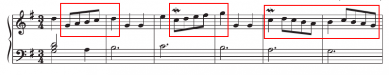 example of scales in a piece of music