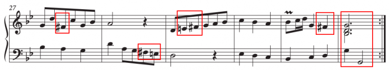 example of a piece in a minor key with accidentals