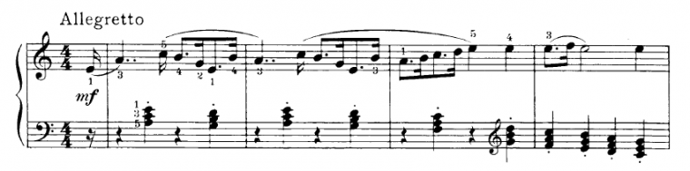 example of a piece with root position chords