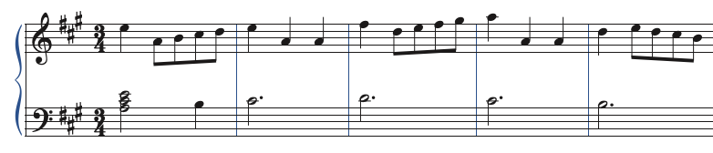 example of transposing a simple tune