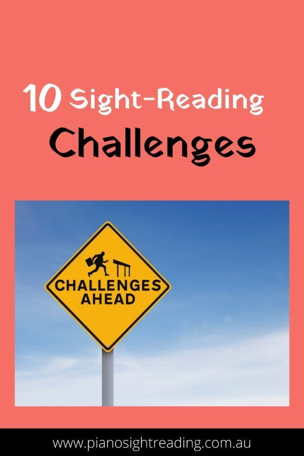 10 Sight-Reading Challenges with sign saying challenges ahead