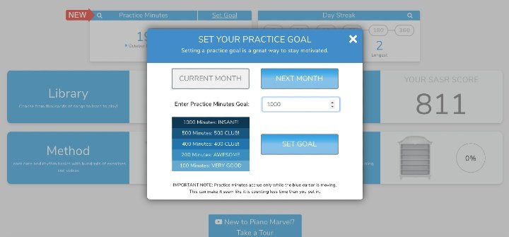 setting a practice goal in Piano Marvel